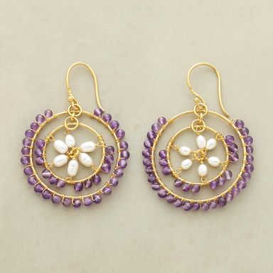 """CONCENTRIC HOOPS--One amethyst-laden hoop swings inside another, the central circle filled with a cultured pearl flower. Handcrafted with 22kt goldplate on sterling silver. French wires. 2""""L."""