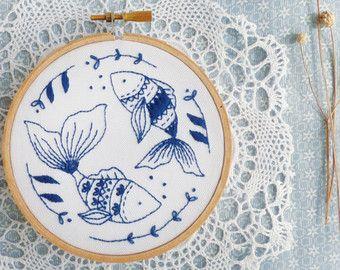 Blue wall art Sea blue Hand embroidery Ocean by TamarNahirYanai                                                                                                                                                                                 More