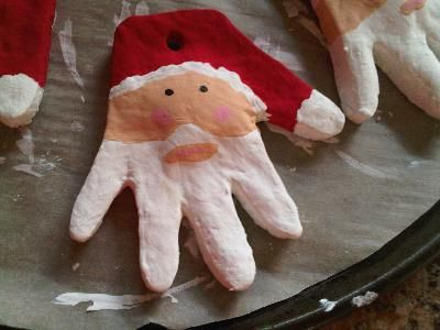 Gonna do this for the grandparents on both sides and myself with kids every year!: Hands Prints, Salts Dough Ornaments, Christmas Crafts, Grandparents Gifts, Handprint Santa, First Christmas, Santa Ornaments, Santa Hands, Christmas Ornaments