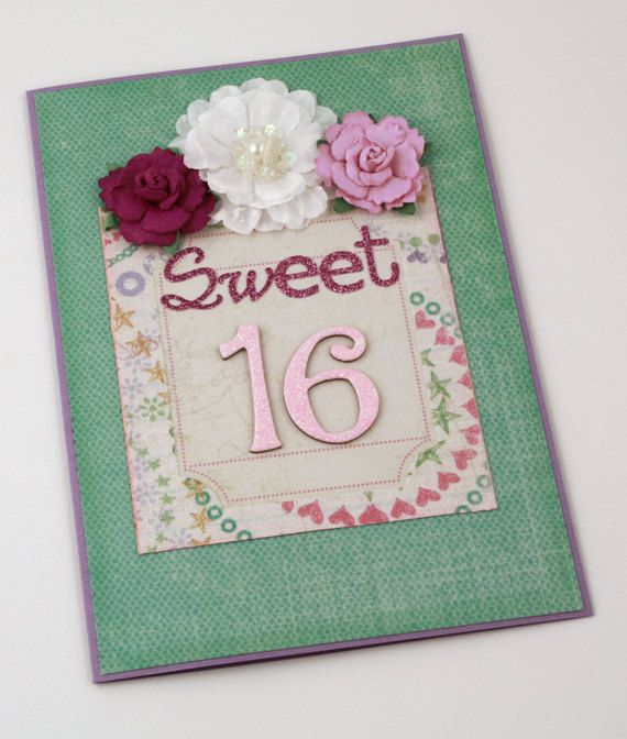 Birthday Handmade Card / sweet sixteen birthday by CardsbyGayelynn, $6.00