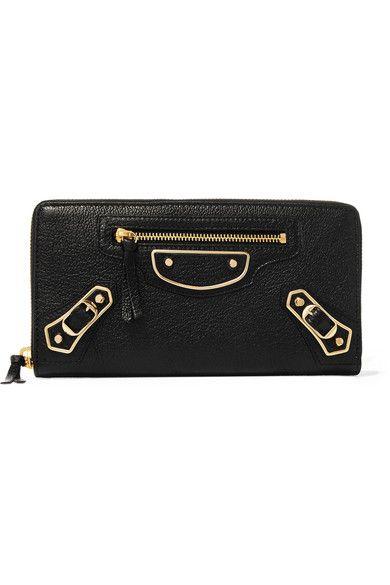 Balenciaga - Metallic Edge Textured-leather Continental Wallet - Black