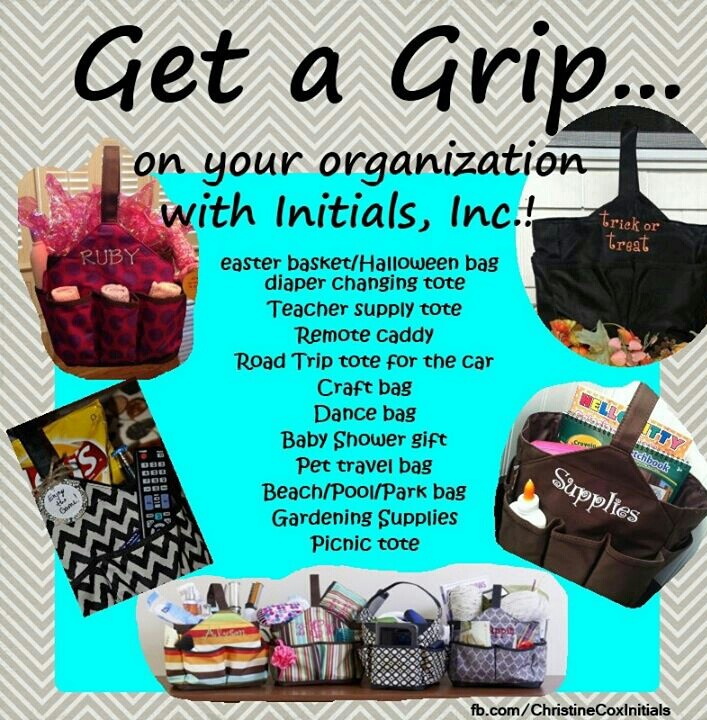 The many uses of the Get a Grip bag or the Get a big Grip - they are amazing with 9 outer pockets to organize all the junk. I use mine in the car. You can get yours with me: http://www.myinitials-inc.com/FABIANACASELLA/