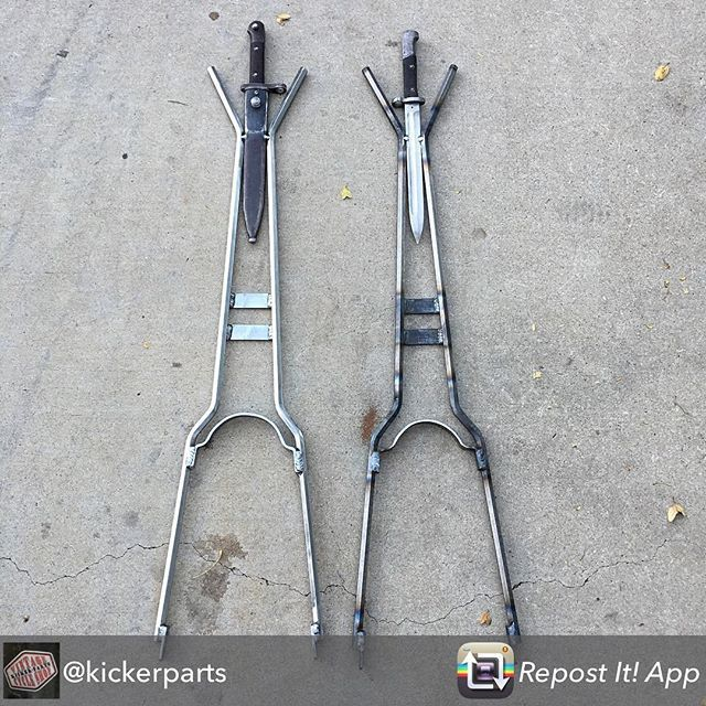 """FOR SALE: Hexagon / Bayonet sissy bars. Approx 38-40"""" tall. Bayonets are original 1912. TEXT FOR PRICING (928) 899-9780. #kickerparts #sissybarsrule #thechopmeet #chopperswapper #chopperparts #harleyparts #choppershit #knucklehead #panhead #shovelhead #ironhead @chopperswapper"""