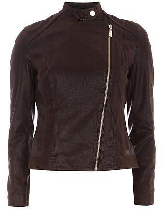 Womens dark brown biker jacket from Dorothy Perkins - £49 at ClothingByColour.com