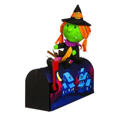 "Evergreen Enterprises, Inc 18"" Witch on The Broom Magnetic Mailbox Cover"