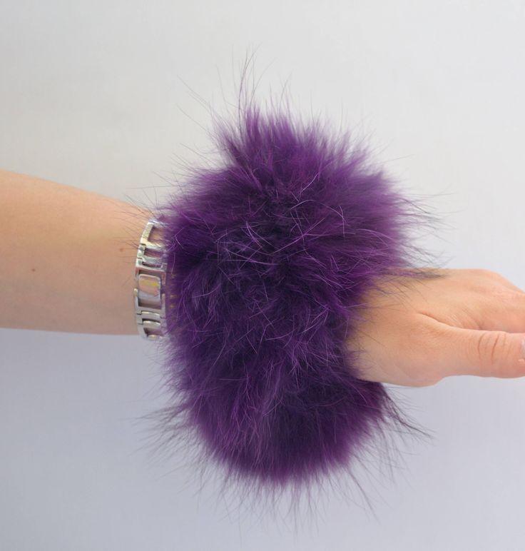 Real fur scrunchies, purple fur fox elastics, real fur bracelet, real fur hair scrunchies, fur bangle, real fox fur fashion bangle. by BeFur on Etsy