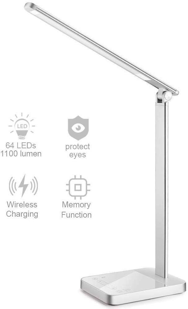 Led Desk Lamp With Wireless Charging Napatek Eye Caring Table Light Aluminium Alloy 3 Color Modes 6 Brightness Levels 30 Led Desk Lamp Light Table Desk Light