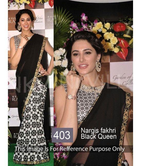 Bollywood Designer Nargis Party Wear Black Saree