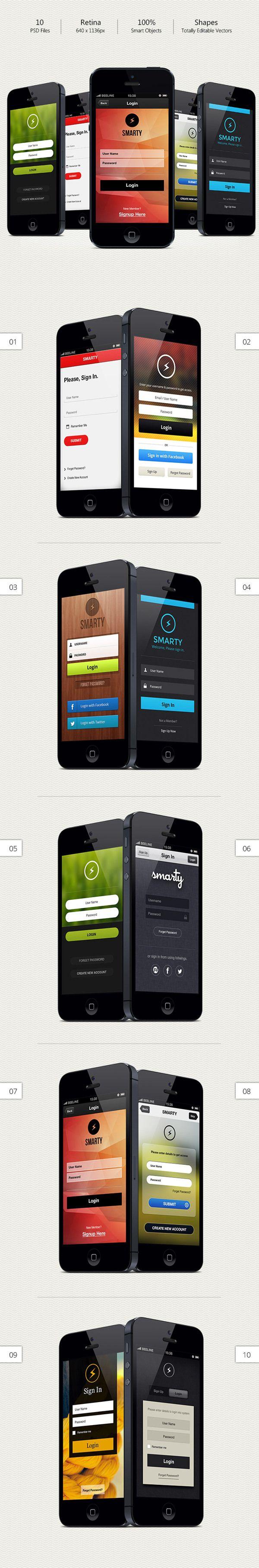 Ultimate Mobile Login Designs by Bouncy Studio, via Behance