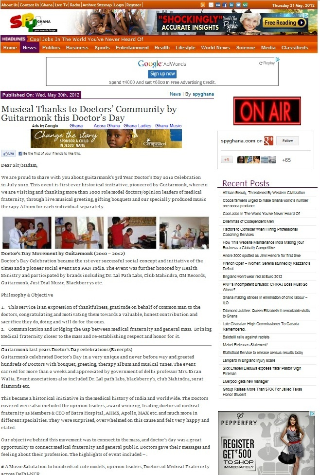 Spy Ghana News - Guitarmonk Doctor's Day 2012 Celebrations in India