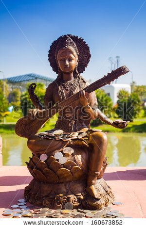 Saraswati is the Hindu goddess of knowledge, music, arts and science. - stock photo