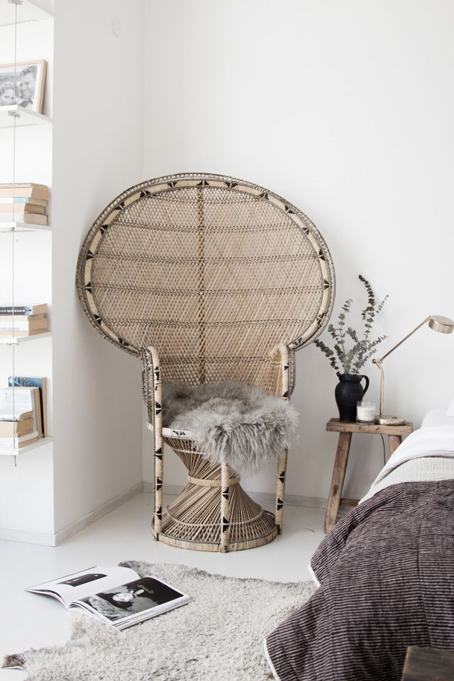 'Peacock chair' in my budget bedroom refresh / Photo and production Niki Brantmark - My Scandinavian Home. Styling: Genevieve Jorn. In collaboration with Benson for Beds.