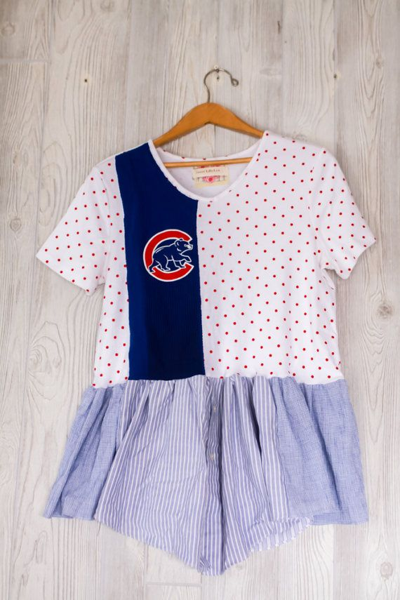Re Fashion Cubs Game Day Tunic Patchwork Baseball by sweetlillylyn