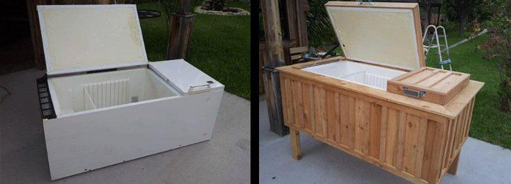 An old refrigerator turned into an ice chest. | ramblingbog