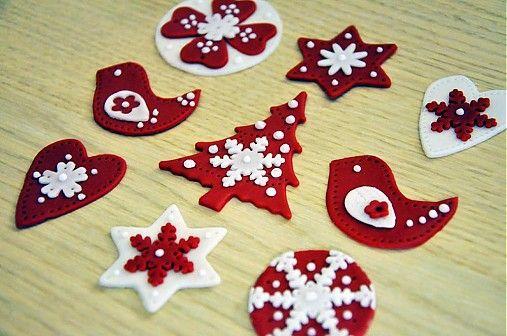Cukrovekvety / Škandinávske Vianoce (jedlé ozdoby 9 ks)