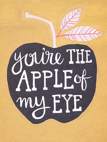 Apple Of My Eye from 1Canoe2, apple, you're the apple of my eye, art, print, apple, nursery, nursery art, 1Canoe2, letterpress
