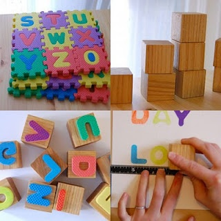 Have an Arabic foam puzzle?  Make your own Arabic letter stamps.  I'm going to make these today - hope I find large enough blocks to hold the letters.  The kids are going to love this.  I will be buying another foam letter puzzle to replace this one!