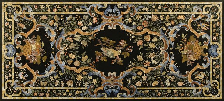 Italian polychrome decorated scagliola table top, on a faux walnut and parcel-gilt base probably second half 19th century