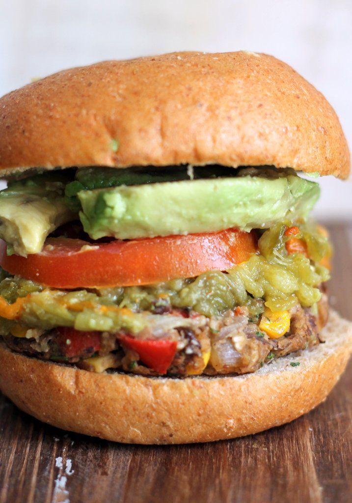 New Mexican Green Chile Black Bean Burgers