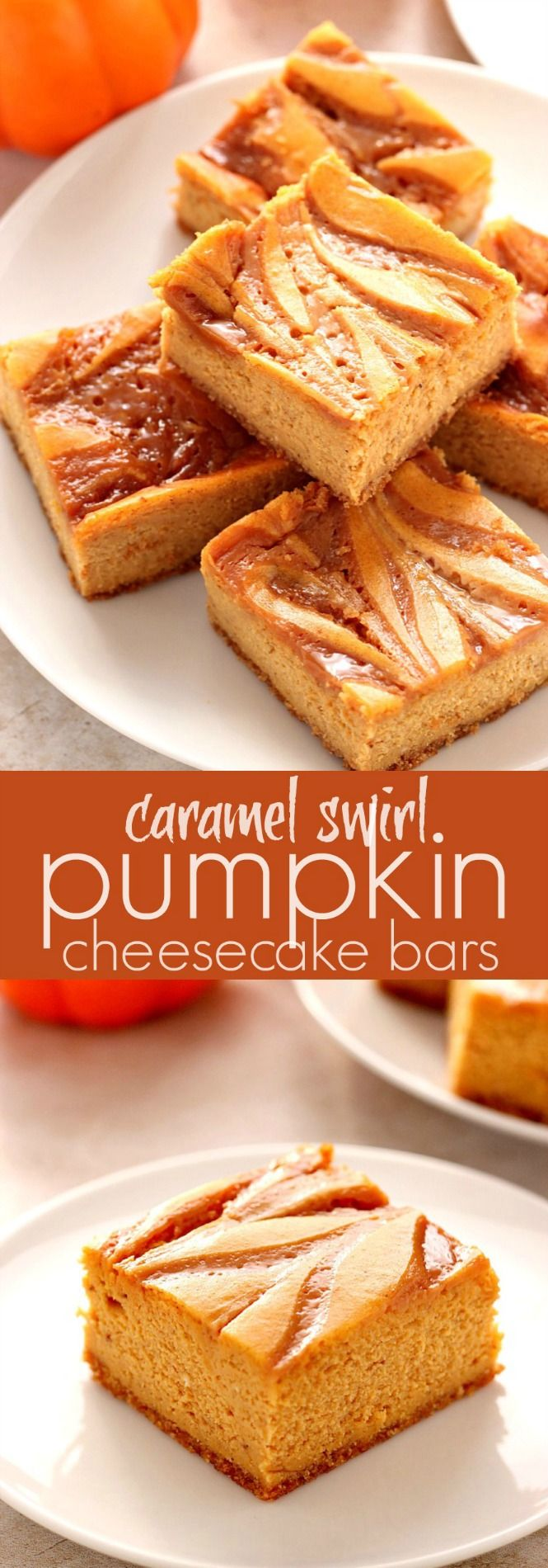 Caramel Swirl Pumpkin Cheesecake Bars - sweet and creamy cheesecake bars with pumpkin, spice and caramel swirl! A must make dessert this season!