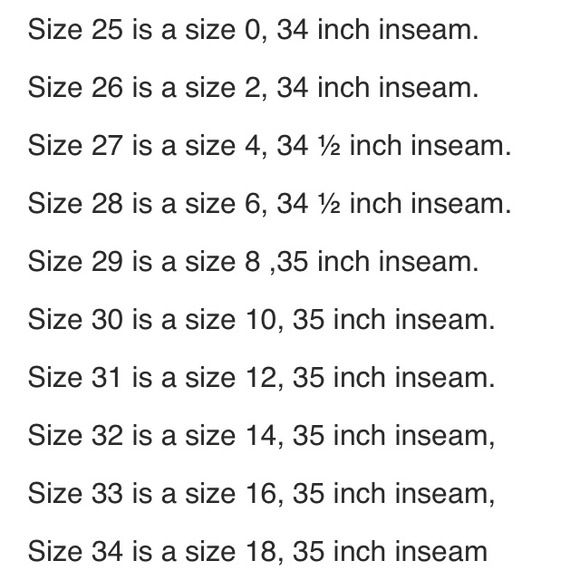 MISS ME jeans size chart for adult Wanted to post this hoping it comes in handy for buyers an sellers. Miss Me Other