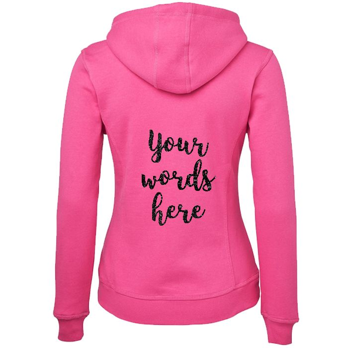 Hoodie with Custom Glitter Text