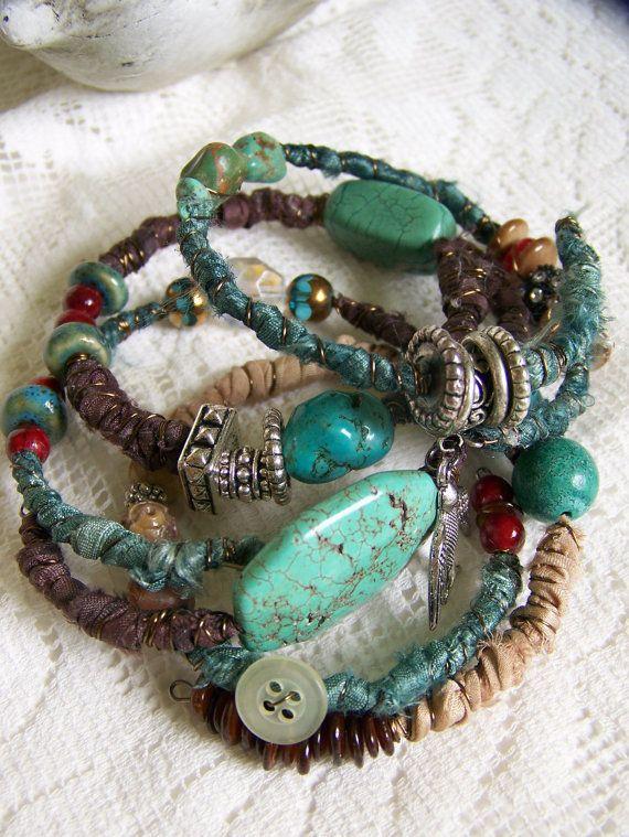 Handmade Gypsy  Bangle Bracelet Stack Wire Wrapped Boho Bracelet Wrapped Tribal Stack Tribal Bracelets Turquoise Bracelet Stack Beaded Stack...