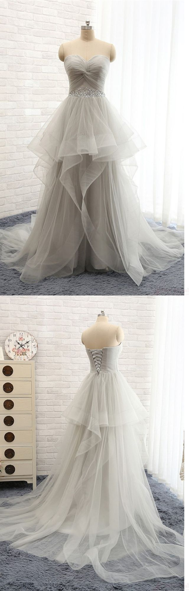Charming High Low Beading nice evening dresses