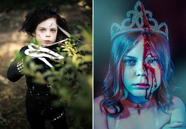 """Quando ela foi adotada, aos 7 anos, decidiu mudar seu nome para Alice, como a personagem do livro de Lewis Carroll. Mas a transformação não parou por aí. Hoje, aos 9 anos, a pequena aspirante a atriz e modelo surpreende ao recriar personagens que vão de Carrie White, do livro de Stephen King,a Edward Mãos de Tesoura. A brincadeira é encorajada pela mãe adotiva, a fotógrafa Kelly Lewis, que documenta tudo no site Malice of Alice (""""A Malícia de Alice"""", em português). Em dia de Halloween, vale…"""