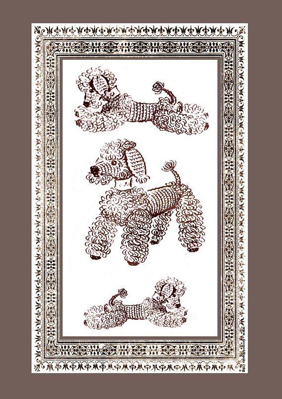 PDF Vintage POODLE FAMILY Dog Toy Crochet Pattern Retro Toy