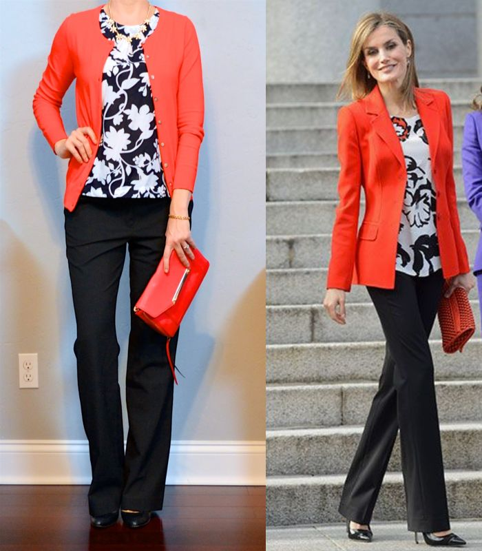 outfit post: floral shell, red cardigan, black pants, black pumps | Outfit Posts | Bloglovin'