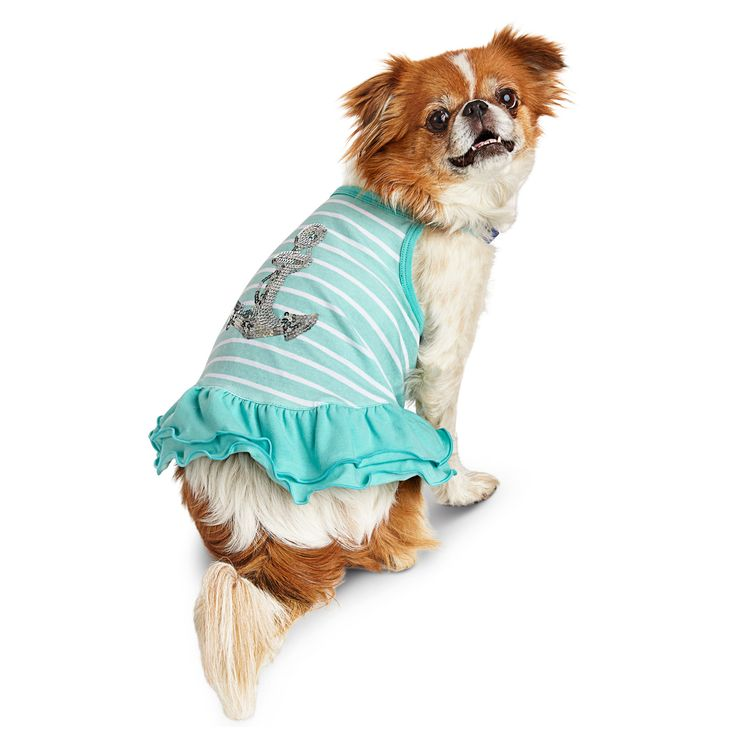 Smoochie Pooch Blue Striped Anchor Dog Dress at PETCO
