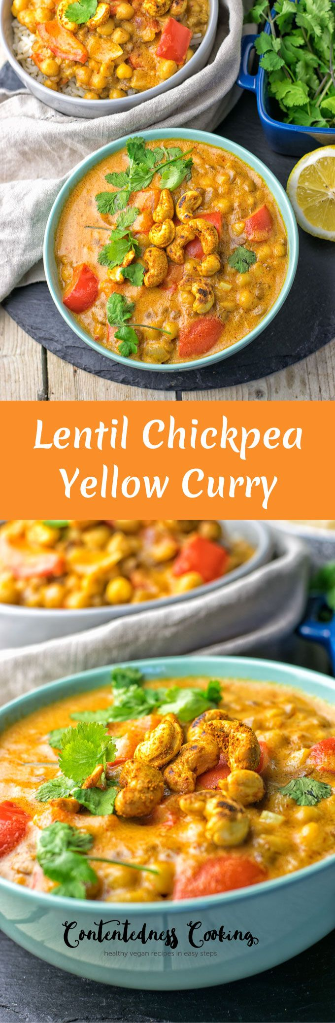 This Lentil Chickpea Yellow Curry is vegan and gluten free and you can make it with just 6 ingredients in 2 easy steps. Get ready for the most incredible, delicious plant-based lunch or dinner.
