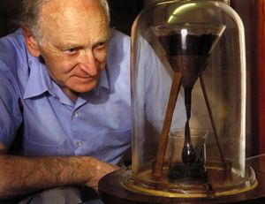 The Pitch Drop Experiment | School of Mathematics and Physics. Room-temp pitch is actually fluid, but sloooow: In 80 years only 9 drops have formed, and no one has ever seen the drop fall.