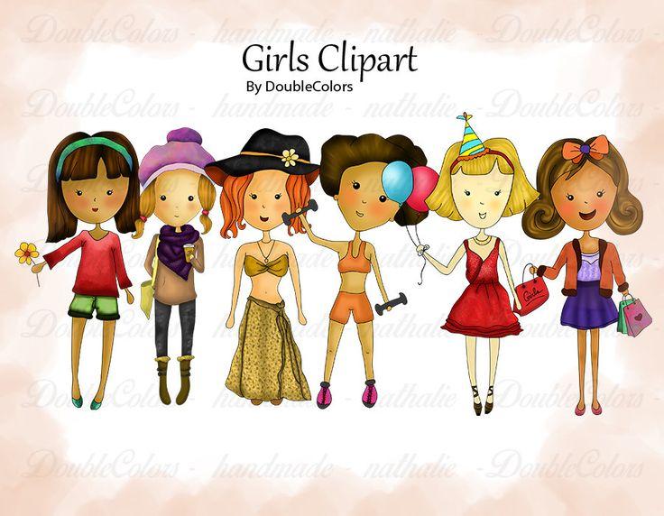 Girls Clipart. 300 dpi, png file. de DoubleColors en Etsy