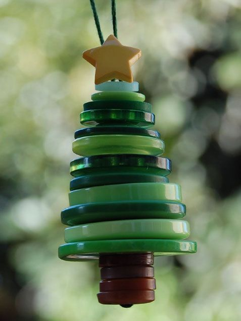 Button Christmas tree ornaments are a great holiday project for kids.