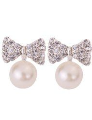 Yazilind Jewelry Pretty Bow Carve Full Sparkling Crystal Silver Plated Faux Pearl Mini Stud Earrings - SALE $0.01 www.jewelryandwatches.co.za