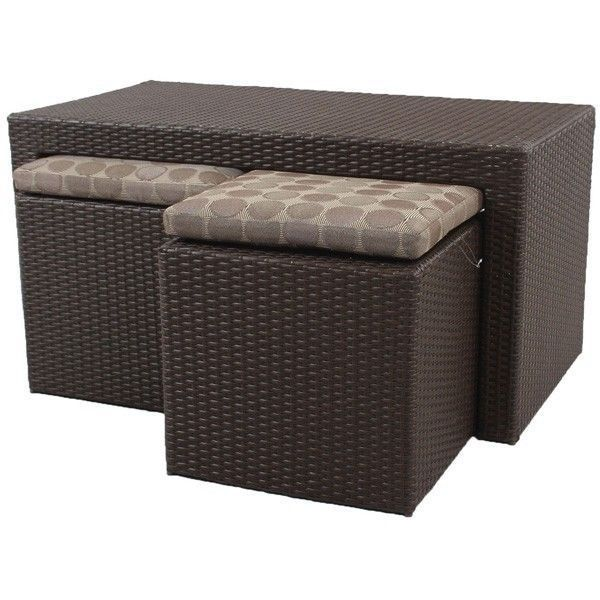 Resin Wicker Patio Coffee Table Furniture 2 Stools Seat