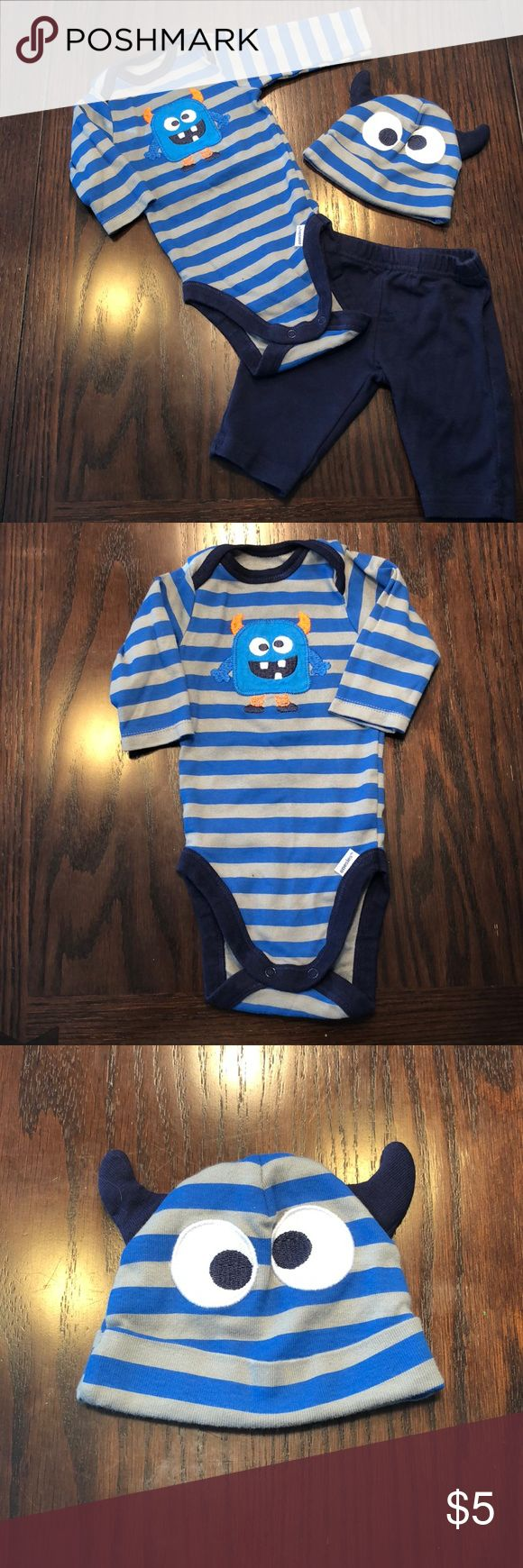 3 piece monster outfit Only worn once. Great condition!! All baby clothes washed in Dreft laundry detergent. Matching Sets