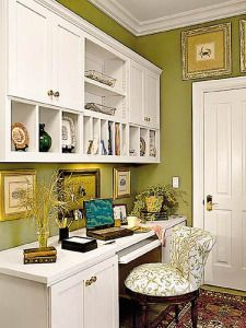 Office. Love the wall color and upper cabinet design