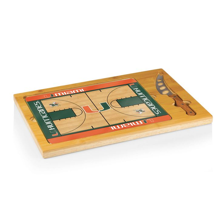 Miami Hurricanes Basketball Court Glass Top Cutting Board