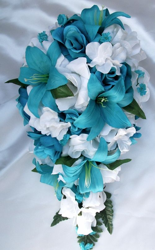 Beautiful Turquoise & White Bouquet:Turquoise Lilies, Turquoise Roses,and White Hydrangeas