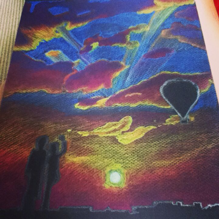 This is a drawing I did awhile back on black paper. It's a beautiful sunset with a air balloon and two people saying good bye