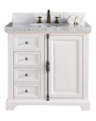 28inch White Bathroom Vanity Cabinet With Nature Marble Top