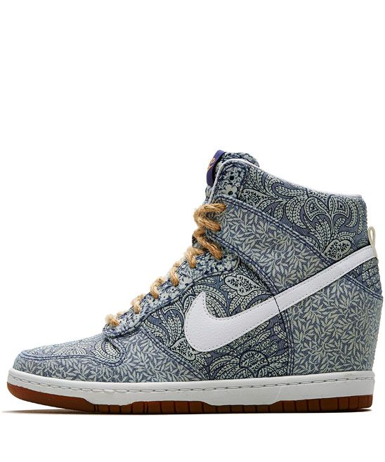 Nike x Liberty Light Blue Crown and Lora Liberty Print Dunk Sky Hi Wedge Trainers