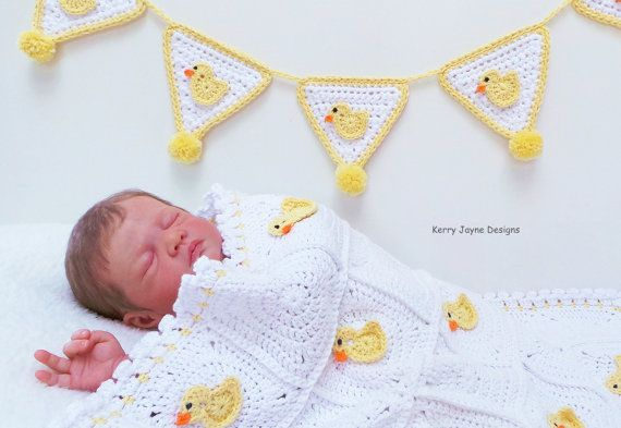 QUACK QUACK Baby blanket pattern and matching bunting pattern  By Kerry Jayne Designs