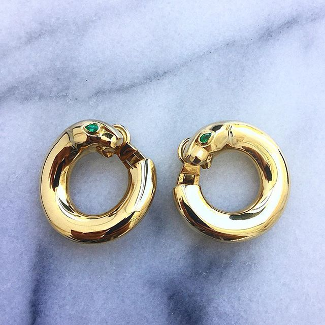 36ffc93ee756 Hoop dreams. Gold Vintage Cartier Panther Hoop Earrings