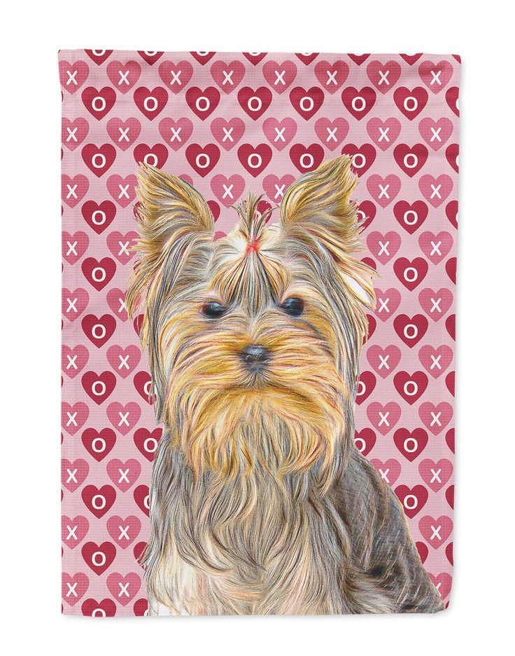 Hearts Love And Valentineu0027s Day Yorkie / Yorkshire Terrier Flag Garden Size  KJ1191GF