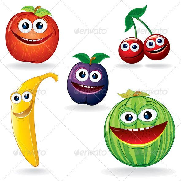 Funny Fruits B #GraphicRiver Set of Funny Vector Fruits. Cartoon Clip Art. - vector illustration, only simply linear and radial gradients used - vector objects grouped - no blends, gradient mesh used - vector available CMYK colors for print - pack include version AI, CDR , EPS , JPG Keywords: watermelon, wild, comic, drawing, mouth, face, fun, good, talking, group, health, isolated, nutrition, plant, sweet, juicy, background, merry, kit Created: 3September12 GraphicsFilesIncluded: JPGImage…