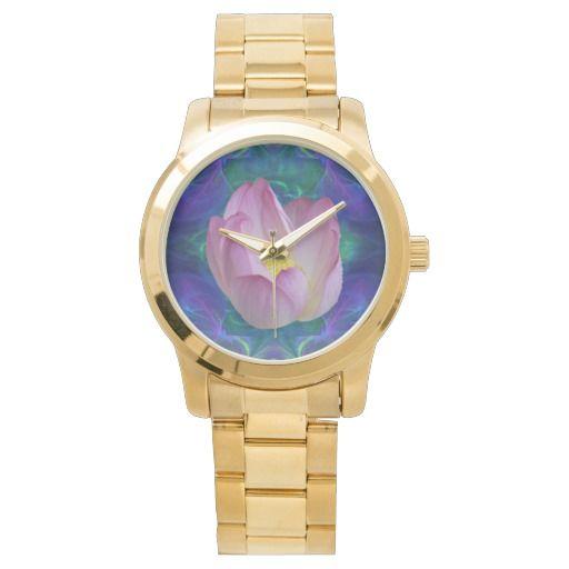 Pink lotus flower wrist watch